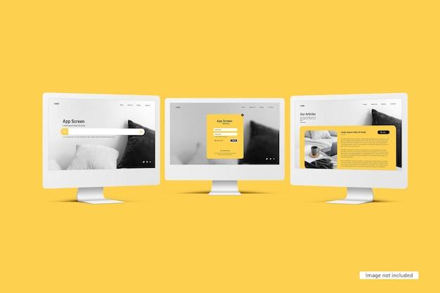 Unicolor desktop screen mockup Premium Psd