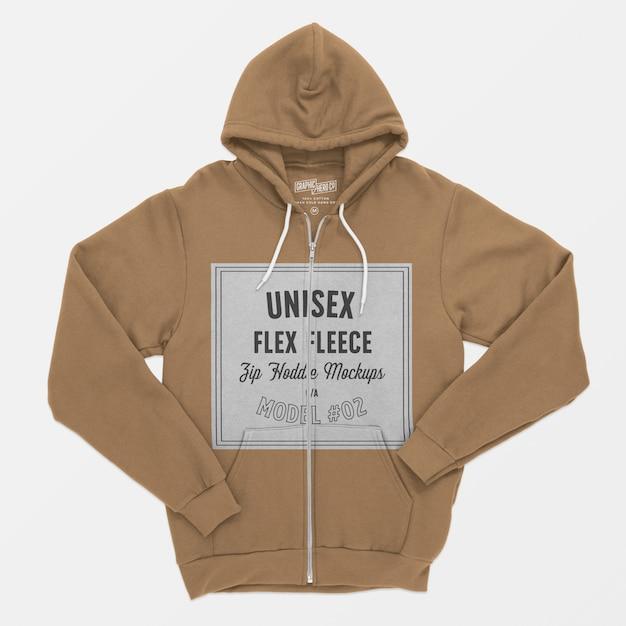 Unisex flex fleece zip hoodie mockup Free Psd