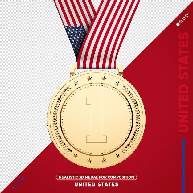 Золотая медаль сша за композицию Premium Psd