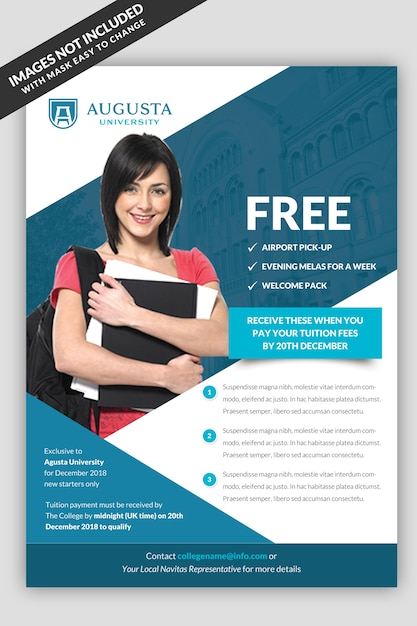 university flyer template psd file