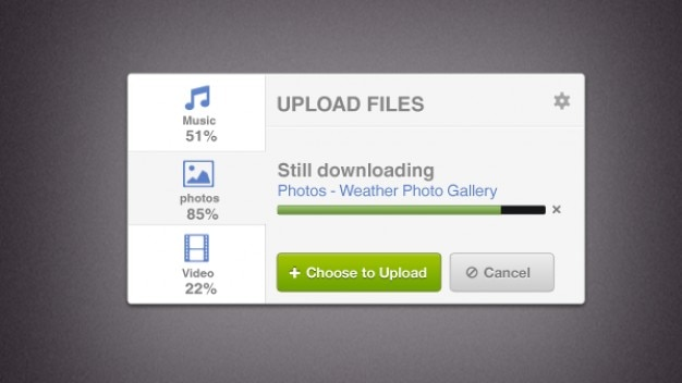 Upload screen with progress bar Free Psd