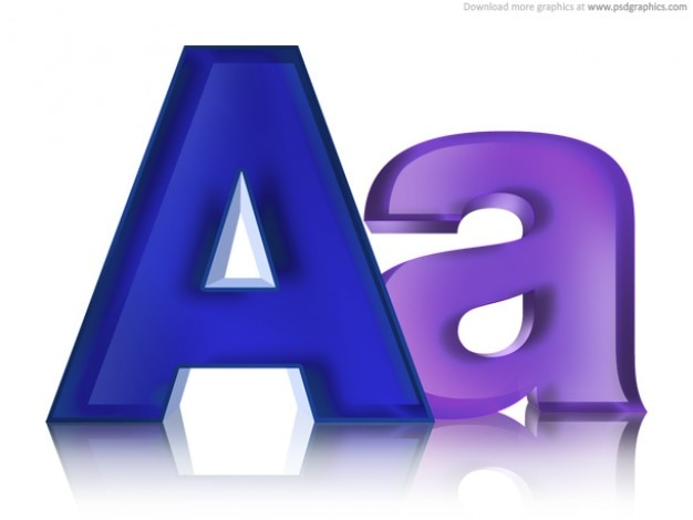 Uppercase and lowercase letters, psd icon Free Psd