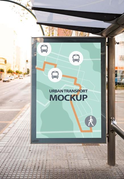 모형이있는 도시 버스 정류장 무료 PSD 파일