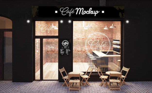 Urban coffee store front display mockup 3d rendering Premium Psd