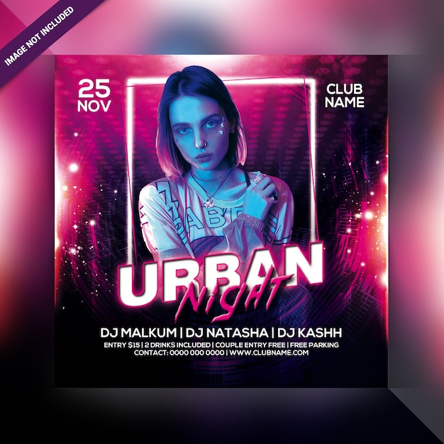 Urban night party flyer Premium Psd