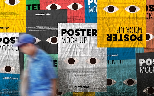 Urban old wall poster collage mockup realistic Premium Psd