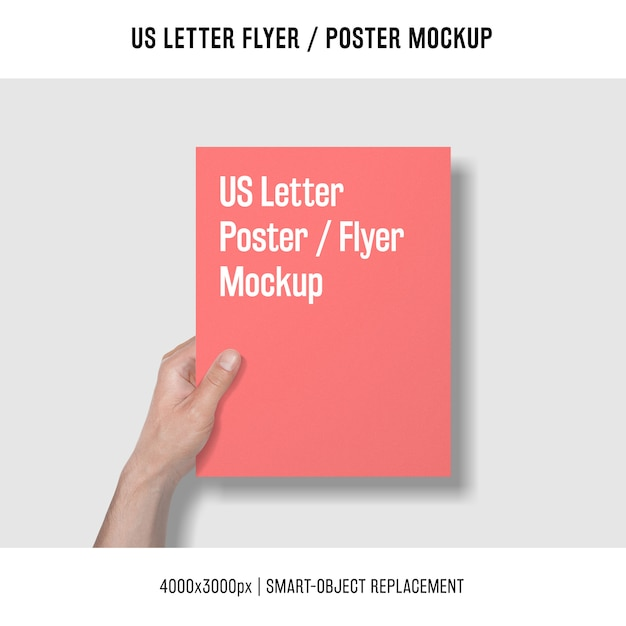 Us letter flyer or poster mockup with hand holding it Free Psd