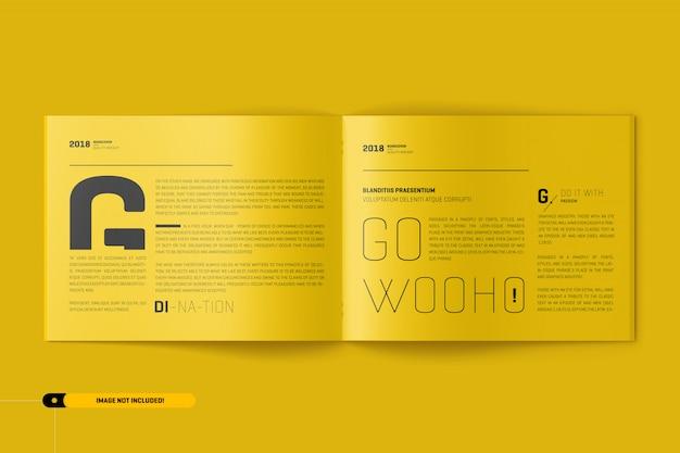 Американский письменный макет брошюры пейзаж Premium Psd