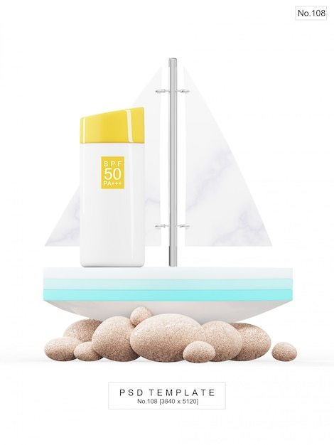 Uv sunscreen product with toy boat. 3d render Premium Psd