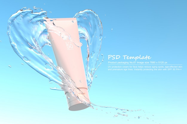 Uv sunscreen product with water splash on blue background 3d render Premium Psd