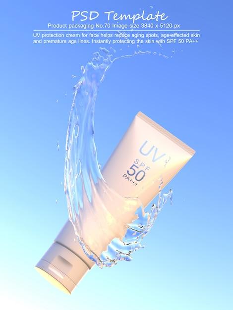 Уф-солнцезащитный продукт с брызгами воды на синем фоне 3d визуализации Premium Psd