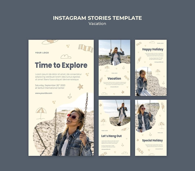 Vacation ad instagram stories template Free Psd