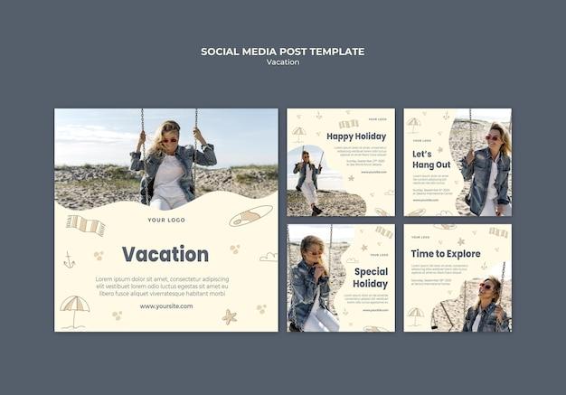 Modello di post sui social media per annunci di vacanze Psd Gratuite