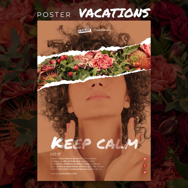 Vacation concept poster template Free Psd