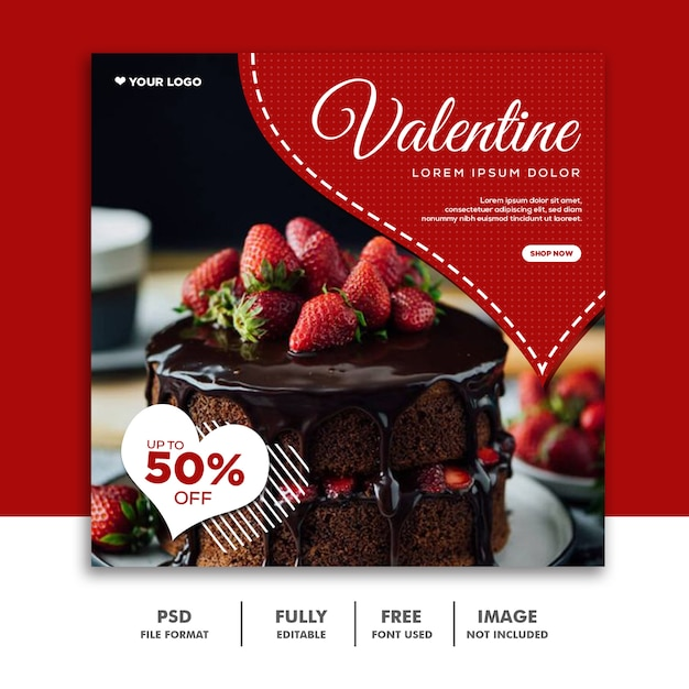 Valentine banner social media instagram, cake food special love red Premium Psd