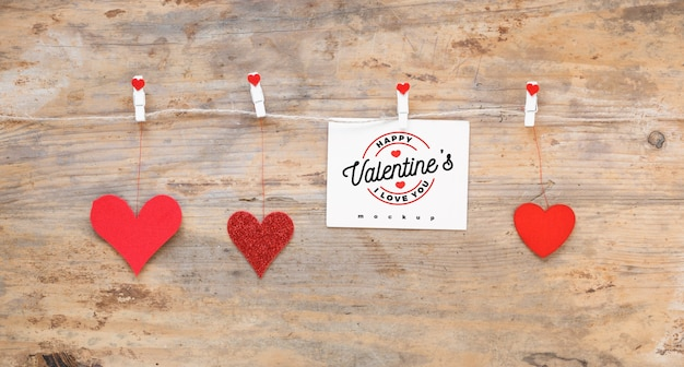 Valentine Card Mockup On Clothes Line Psd File Free Download