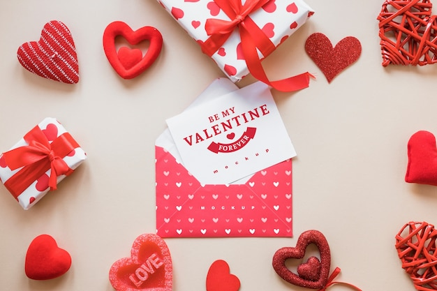 Valentine Card Mockup With Composition Of Objects Psd File Free
