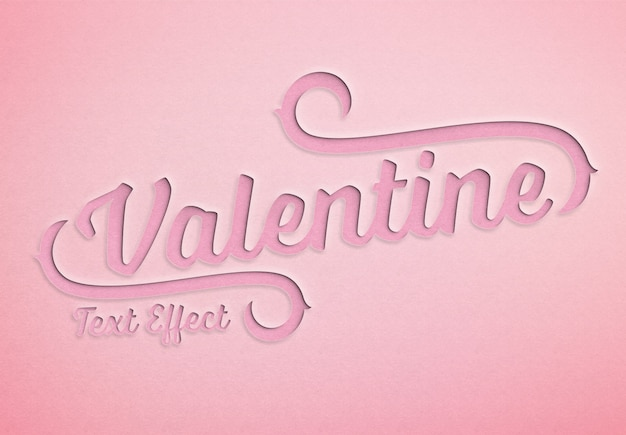 Valentine day paper cut text effect mockup Premium Psd