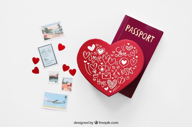 Valentine Elements And Card Mockup Psd File Free Download