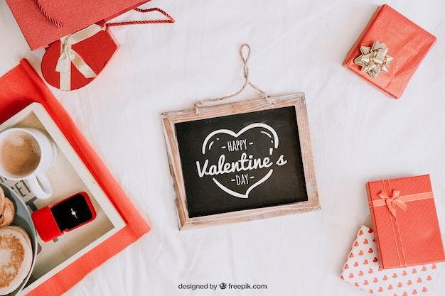 Valentine elements and frame mockup PSD file | Free Download