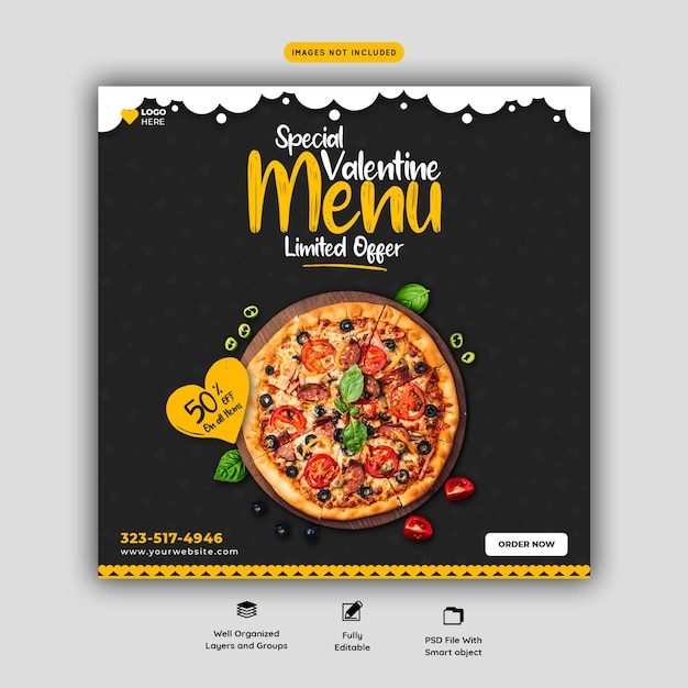 Валентина меню еды и вкусная пицца шаблон баннера в социальных сетях Бесплатные Psd