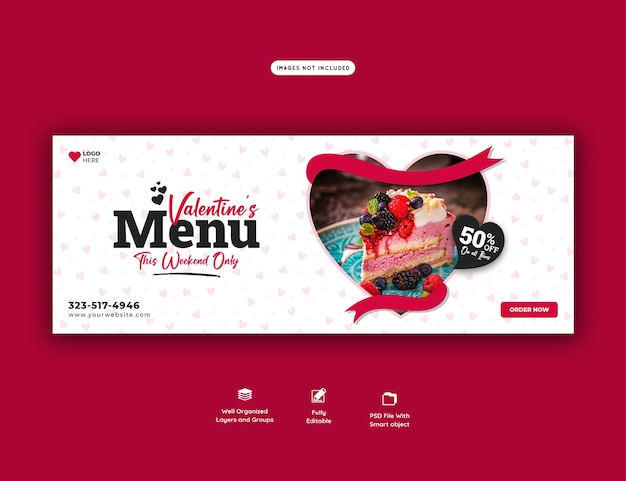 Valentine food menu and restaurant facebook cover template Free Psd