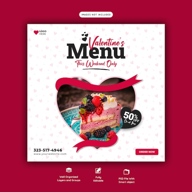 Valentine food menu and restaurant social media banner template Free Psd