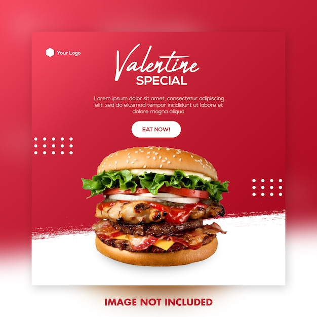 Valentine food menu social media post template Premium Psd