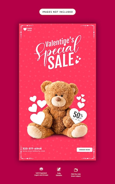 Regali di san valentino e vendita di giocattoli instagram e modello di storia di facebook Psd Gratuite
