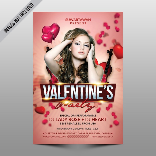 Valentine party flyer mockup Premium Psd