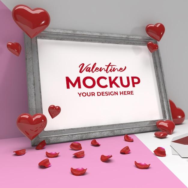 실버 프레임에 마음과 꽃잎 발렌타인 로맨틱 프레임 모형 프리미엄 PSD 파일
