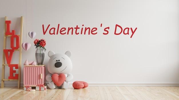 バレンタインルームのモダンなインテリアには、バレンタインデーのための人形と家の装飾があり、3dレンダリング 無料 Psd