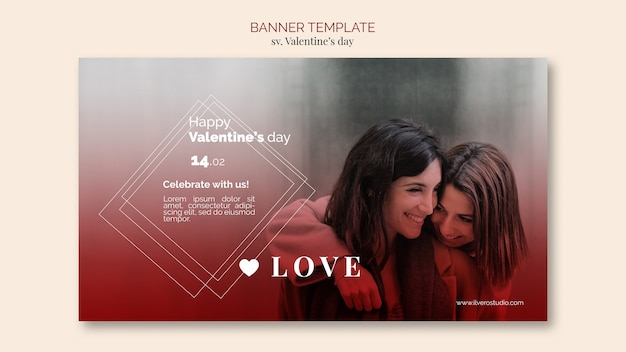 Valentine's day banner template with female couple Free Psd