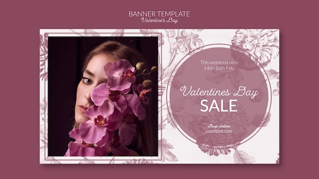 Valentine's day banner template Free Psd