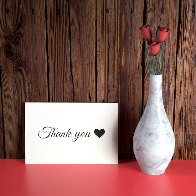 Valentine's day card mockup with vase Free Psd