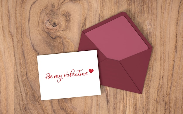 Valentine's day card with envelope Free Psd