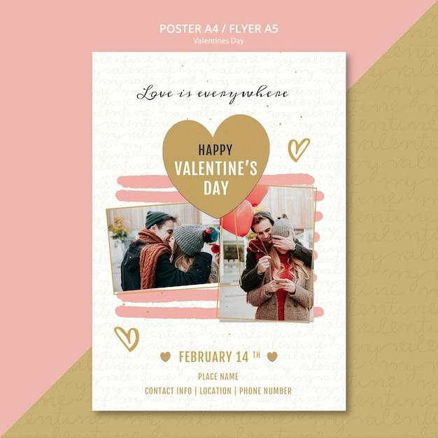Valentine's day concept flyer Free Psd