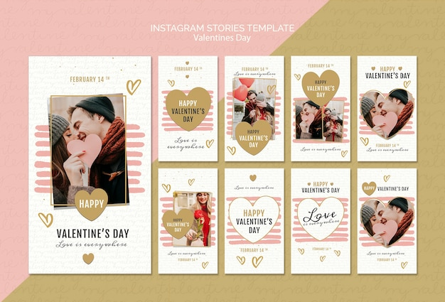 Valentine's day concept instagram stories template Free Psd
