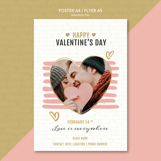 Valentine's day concept poster Free Psd