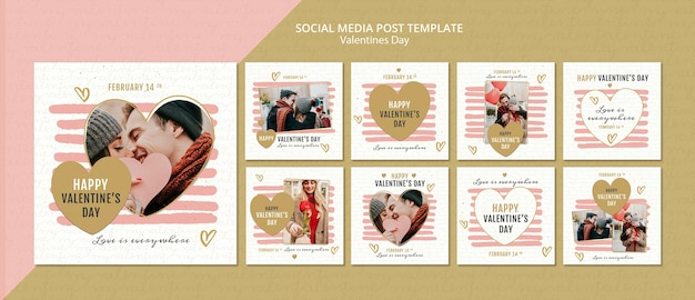 Valentine's day concept social media post template Free Psd
