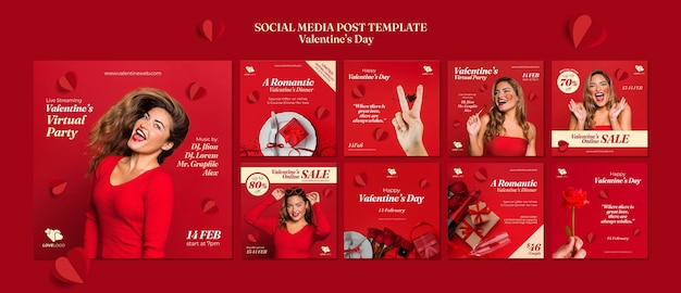 Valentine's day instagram posts Free Psd