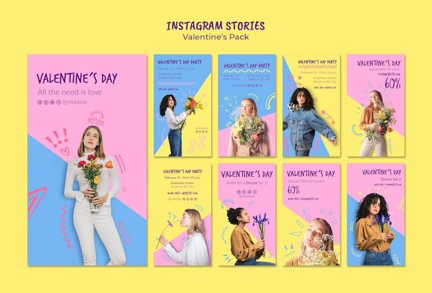 Valentine's day instagram stories set template Free Psd