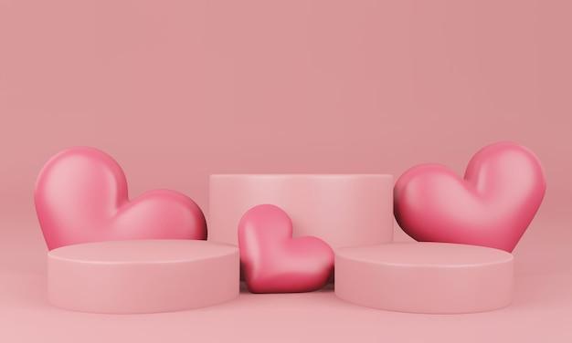 파스텔 핑크 플랫폼, 하트, 스탠드, 연단, 상품 받침대가있는 발렌타인 데이 인테리어 프리미엄 PSD 파일