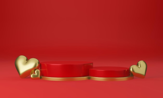 빨간 플랫폼, 하트, 스탠드, 연단, 상품 받침대가있는 발렌타인 데이 인테리어 프리미엄 PSD 파일