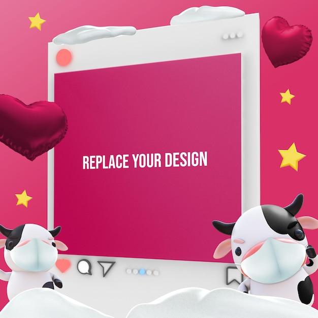 バレンタインデーのモックアップ3dレンダリングデザイン Premium Psd