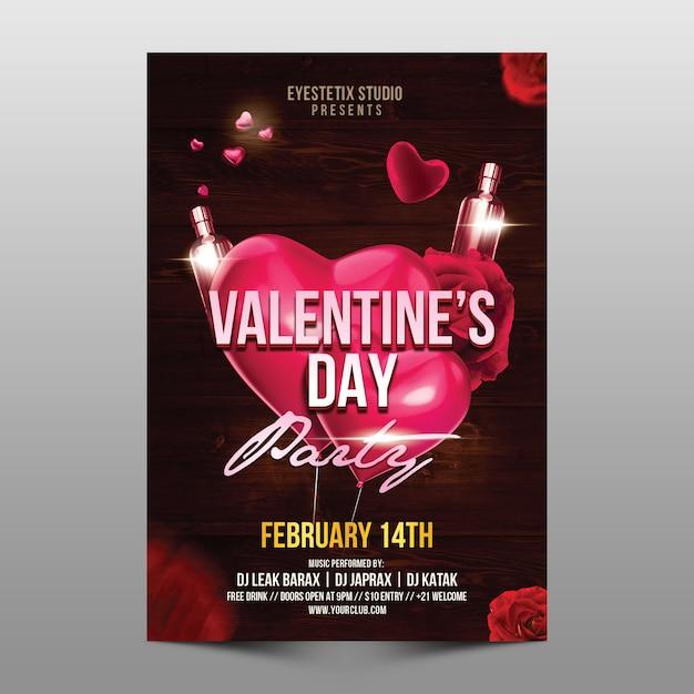Valentine's day party flyer Premium Psd