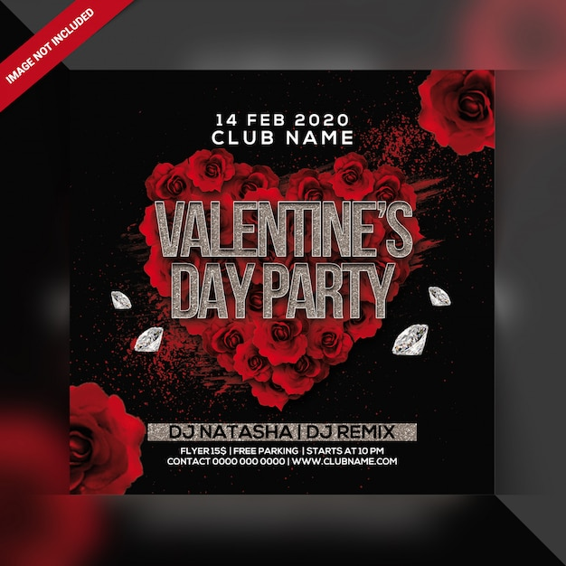 Valentine's day party flyer Premium Psd