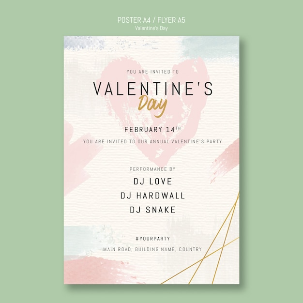 Valentine's day party invitation poster Free Psd