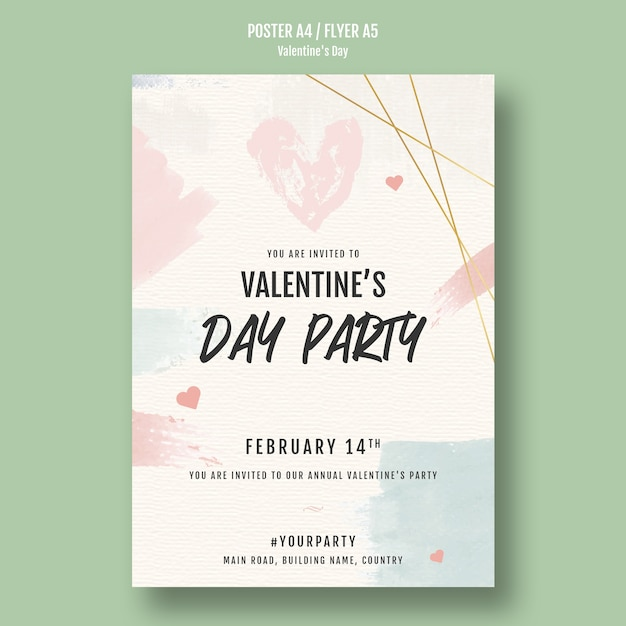 Valentine's day party poster with hearts Free Psd