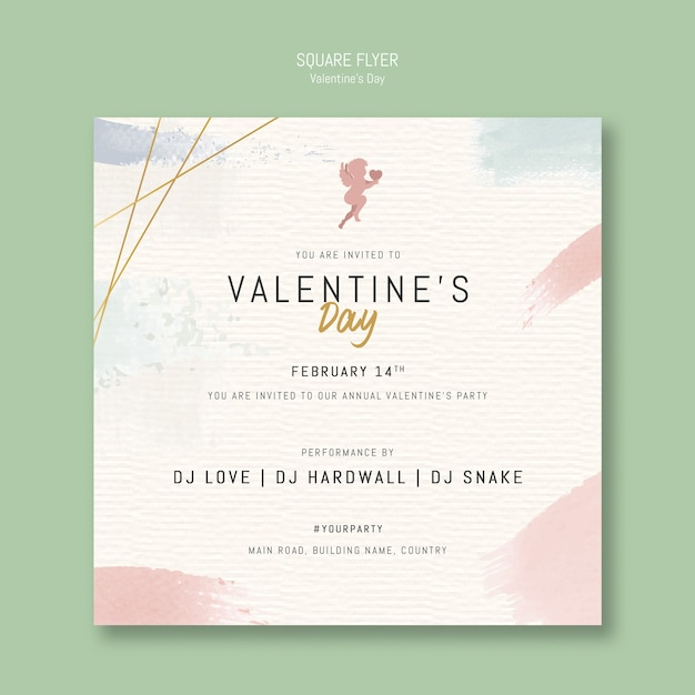 Valentine's day pay invitation square flyer Free Psd